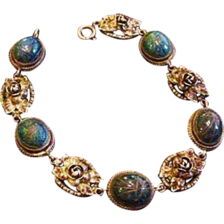 Old FLLI  Peruzzi Sterling and Lapis Bracelet