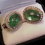 Ciner Flawed Green Emerald Rhinestone Earrings