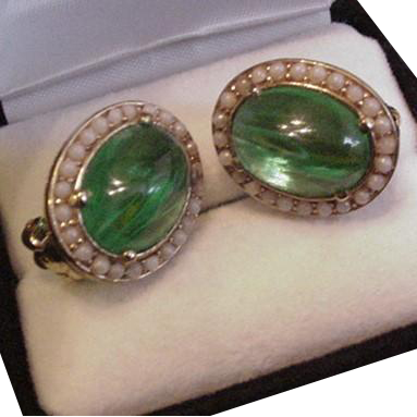 Ciner Flawed Green Emerald Rhinestone Earrings