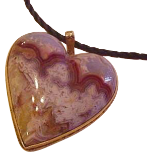 Crazy Lacy Agate Heart Vintage Pendant Necklace