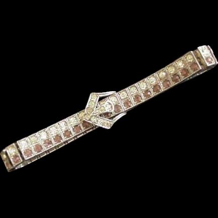 Sterling Silver Diamonbarr  Art Deco Rhinestone Bracelet