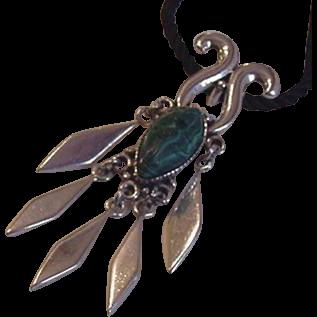 Big Heavy Sterling Silver Malachite Vintage Necklace
