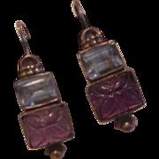 Sterling Silver Carved Amethyst Earrings