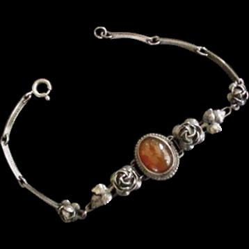 Sterling Silver Carnelian Vintage Flowers Bracelet