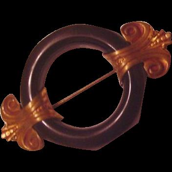 Art Deco Brass Finials Pin