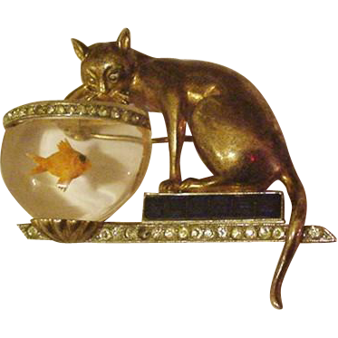 Sterling Silver  Lucite Fish Bowl Vintage Cat Pin