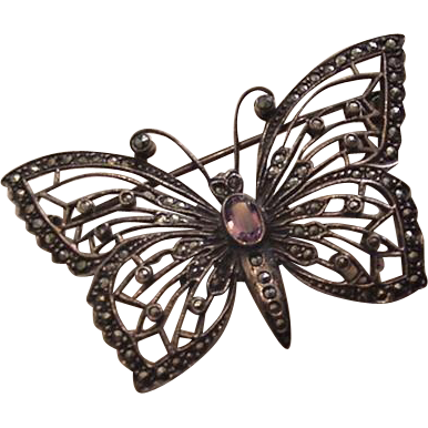 Sterling Silver Amethyst Marcasites Vintage Butterfly Pin
