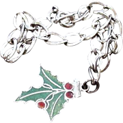 Sterling Silver Holly Leaf and Berries Charm Bracelet