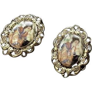 Asian Inspired Vintage Portrait Earrings