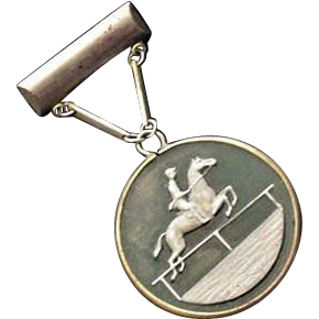 Frosted Glass Cameo Equestrian Pin