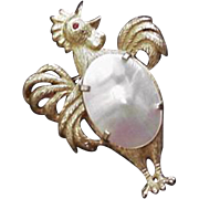Rooster Pin Vintage Marvella Mother of Pearl