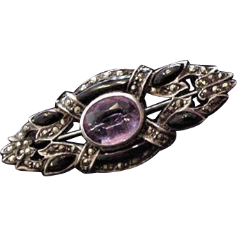 Art Deco Sterling Amethyst and Onyx Pin