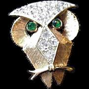 Rhinestone Owl Pin