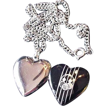 Black and Silver Locket Necklace