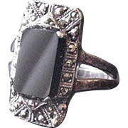 Sterling Silver Onyx and Marcasite Ring