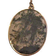 9Kt Victorian Moss Agate Pendant Necklace