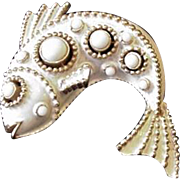 Trifari White Beads Fish Pin