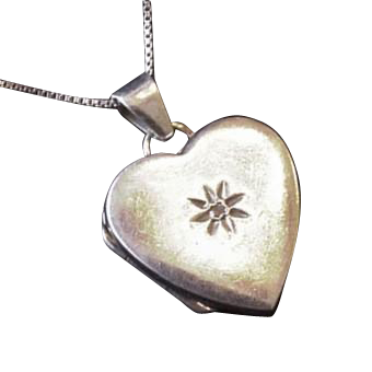 Sterling Silver Diamond Heart Locket Necklace