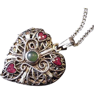 Filigree Heart Locket Necklace