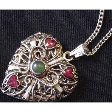Filigree Heart Locket Necklace