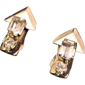 Emerald Cut Kafin Rhinestone Earrings