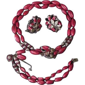 Red Glass Miriam Haskell Necklace Bracelet Earrings
