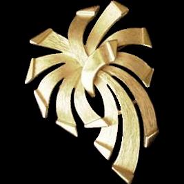 Trifari Mid Century Edgy Ribbon Pin