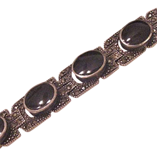 Sterling Silver Onxy and Marcasite Bracelet