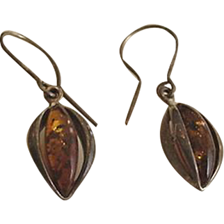 Sterling Silver Amber Pendant Earrings