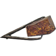 Asymmetrical Sterling Silver Amber Pin