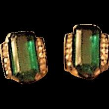Trifari Sterling Emerald Green Glass Vintage Earrings