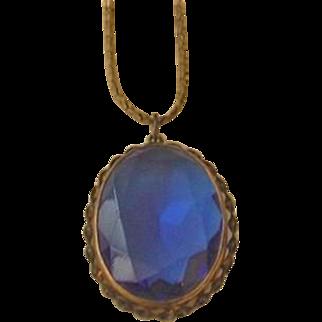 Large Deep Blue Glass Necklace