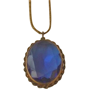 Large Deep Blue Glass Necklace