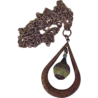 Brass and Green Glass Vintage Pendant Necklace
