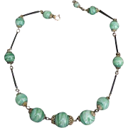 Art Deco Brass and Green Glass Necklace