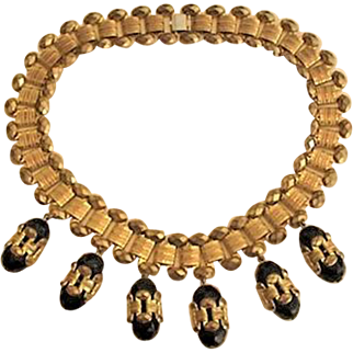Big Chunky Brass and Faceted Glass Beads Necklace