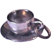 Cup and Saucer Sterling Silver Charm