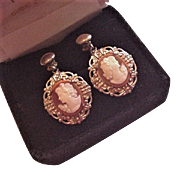 Carved Shell Cameo Earrings