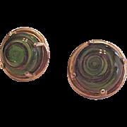 Green Castlecliff Art Glass Earrings