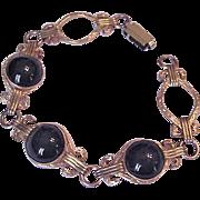 Mid Century Black Glass Bracelet
