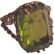 Brass and Green Glass Ring
