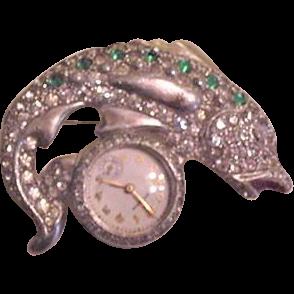 Art Deco Gotham Fish Pin Lapel Watch