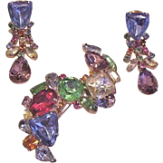 Big Jewel Tone Rhinestone Pin and Earrings