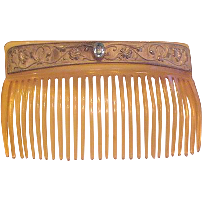 Brass and Celluloid Hair Comb