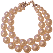 Big Bold Lustrous Napier Double Faux Pearl Strands