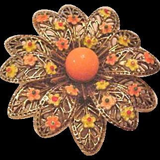 Enamel Flower Pin by Art
