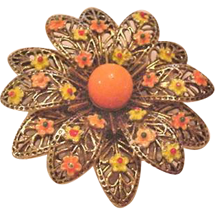 Enamel Flower Pin by Art