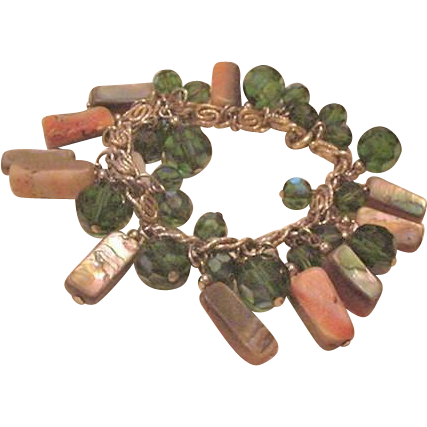 Crystals and Abalone Shell Bracelet