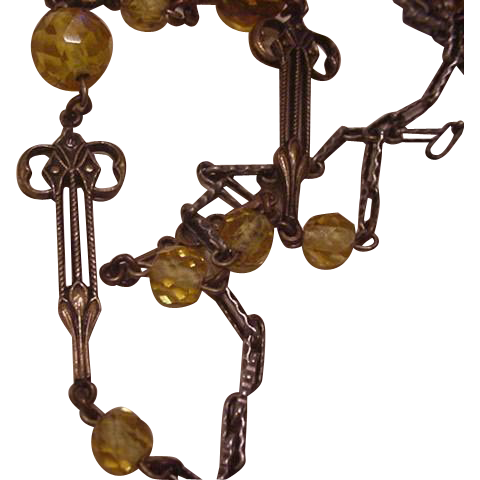 Art Nouveau Glass Beads Chain