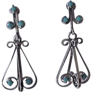 Turquoise Rhinestone Pendant Earrings